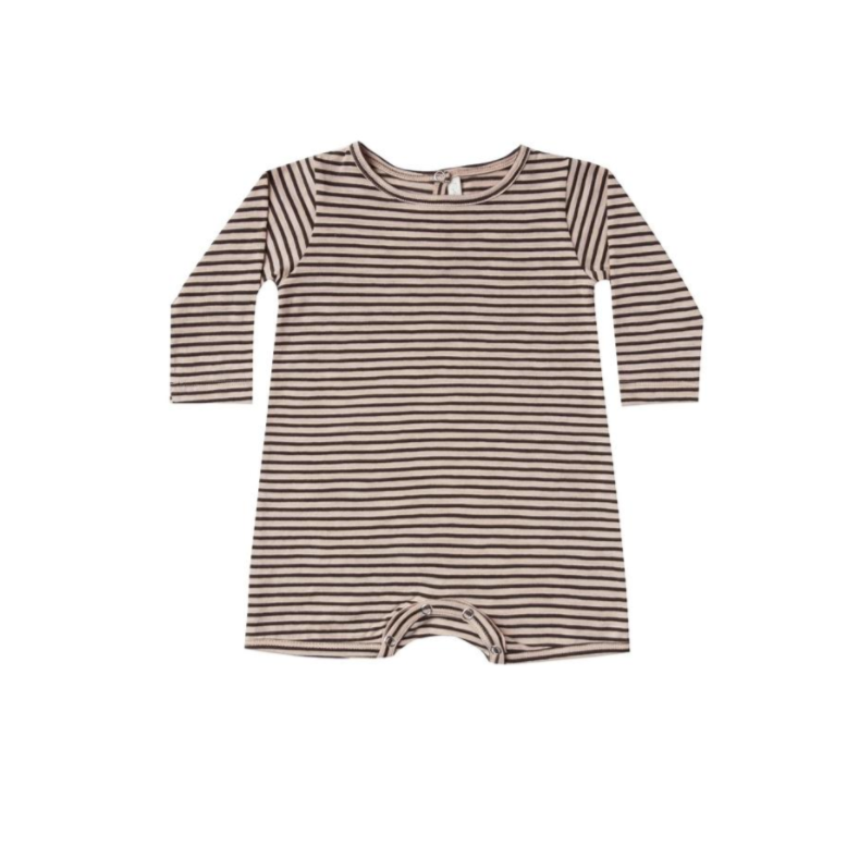 Oat and Black stripe Dash Romper
