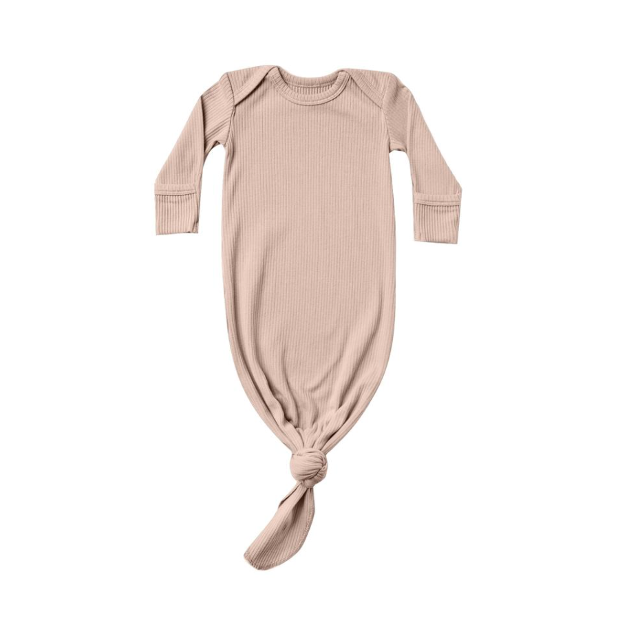 Petal Ribbed Knotted Baby Gown