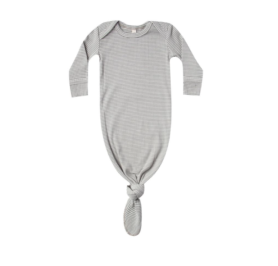 Eucalyptus Stripe Ribbed Knotted Baby Gown