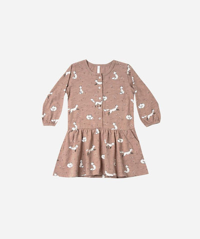 winter fox button up dress