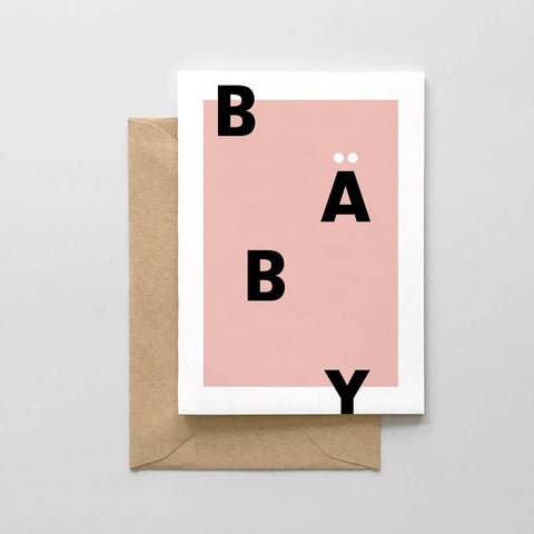 Baby Typographic Card - Pink