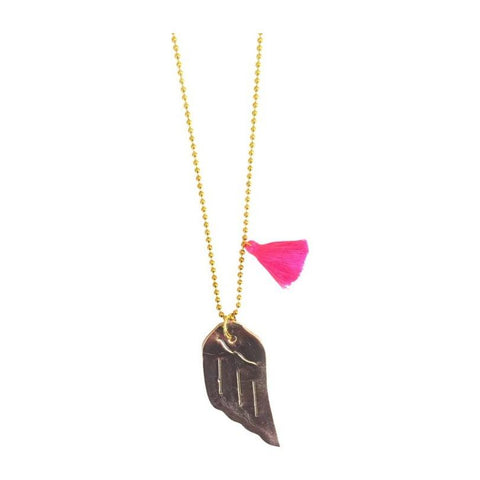 Golden Flight Leather Wing Necklace