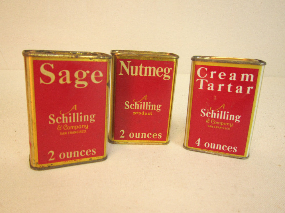 Shelly's Schilling spice cans
