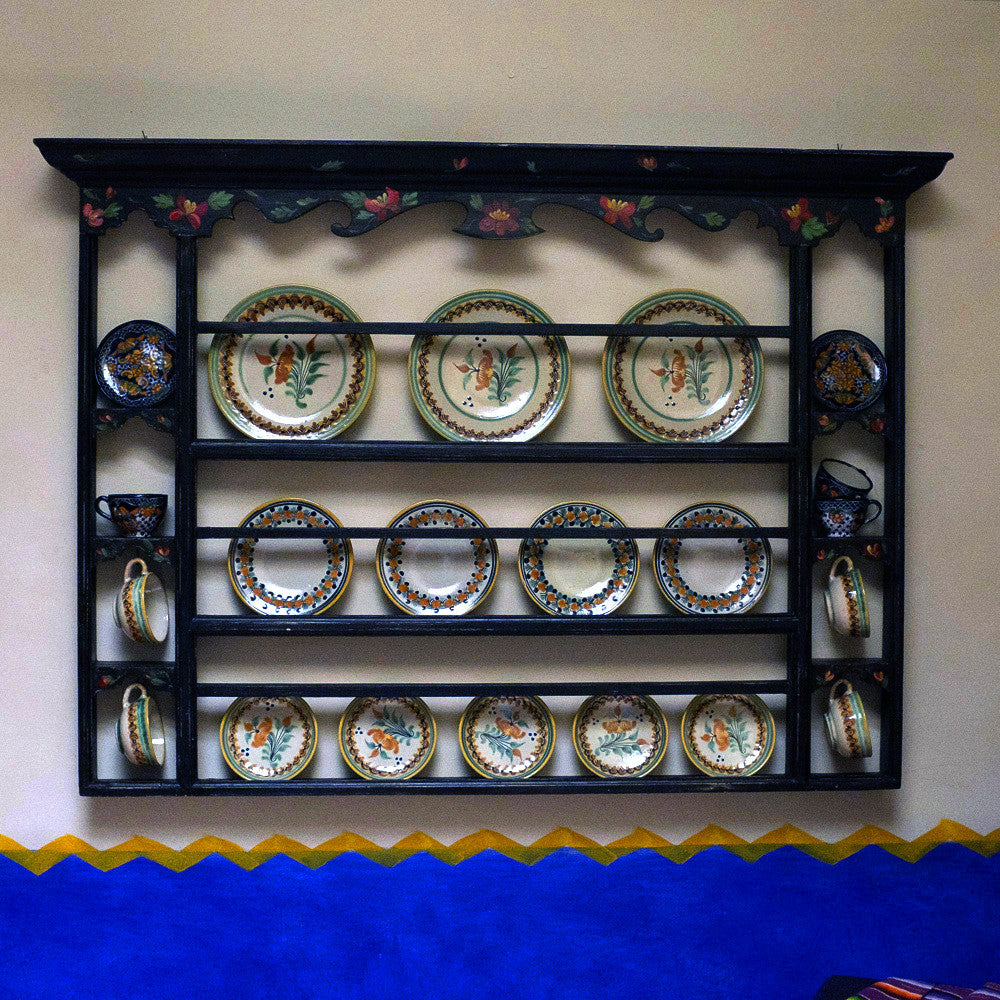 ... Hand-painted Plate Rack ... & black plate rack with handpainted Mexican flowers - Antares Furnishings