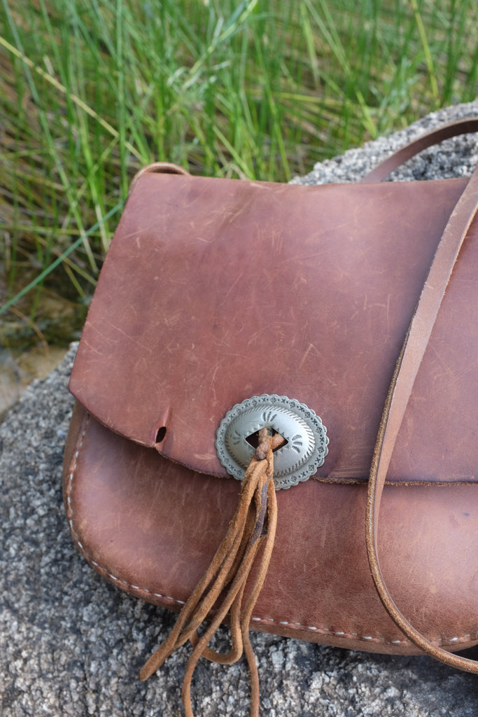 Leanna's vintage leather hippie bag