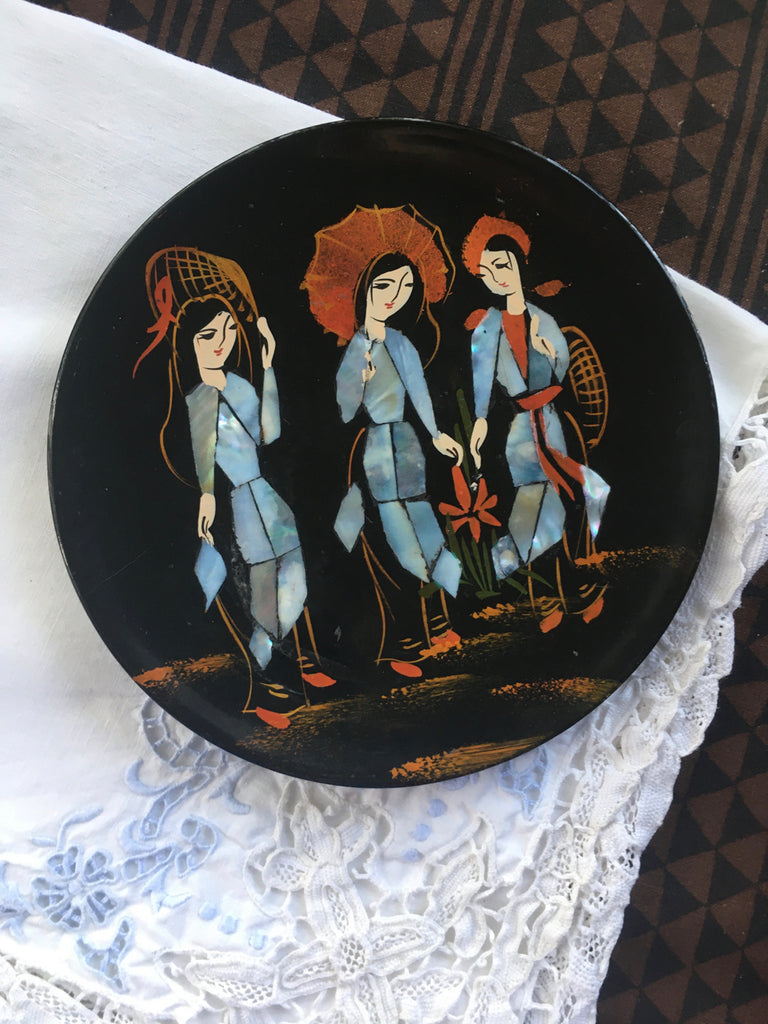 Adie's vintage abalone lacquer dish