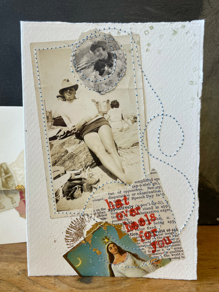 collage card, collage art, hat over heels for you
