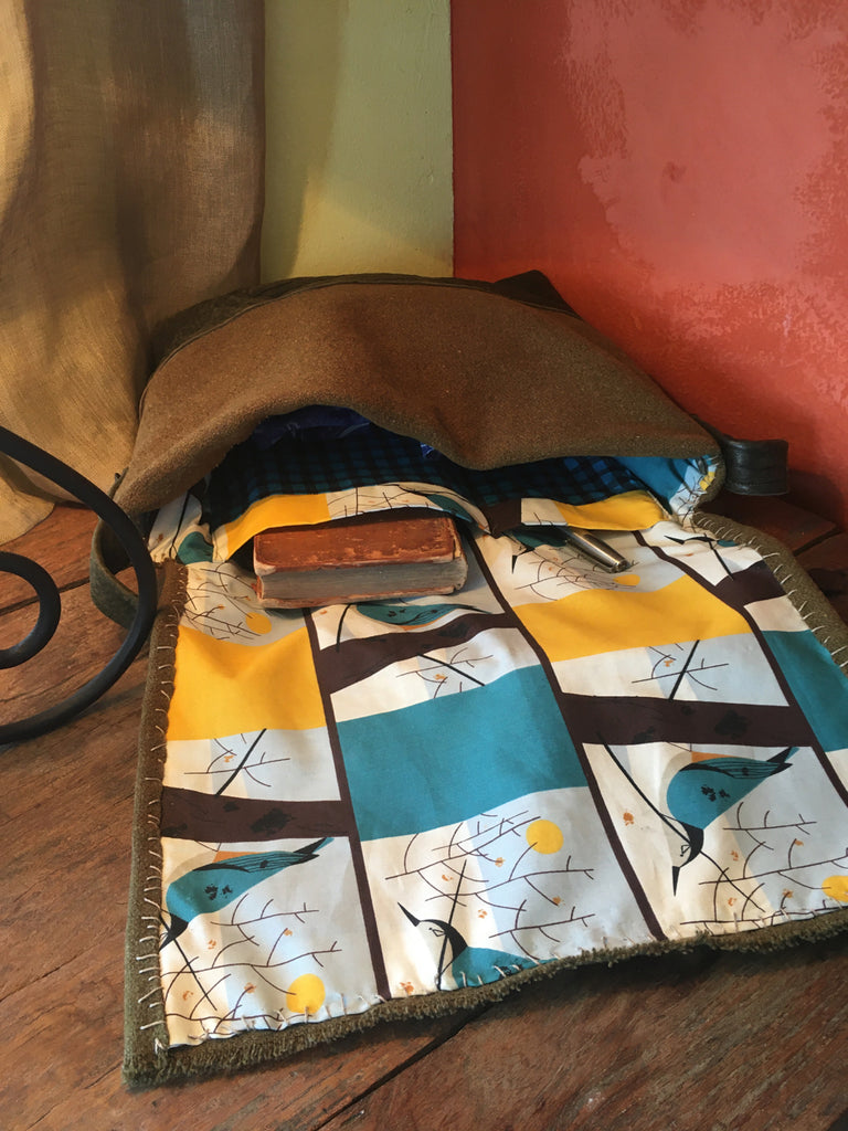Geli's army blanket trek bag