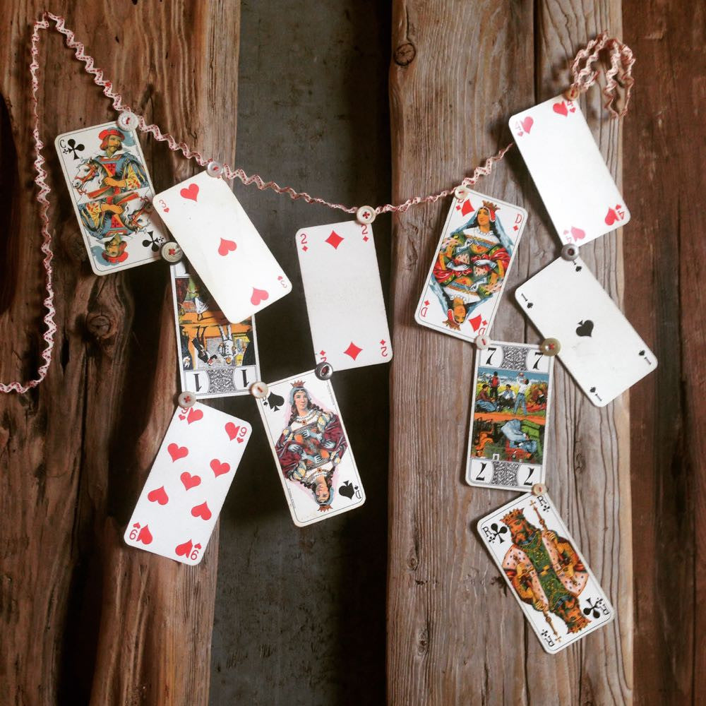 Daniella's French cards on a string