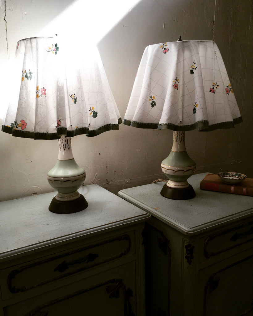 Set of 2 1950's Celadon Lamps with Slipcover Shades