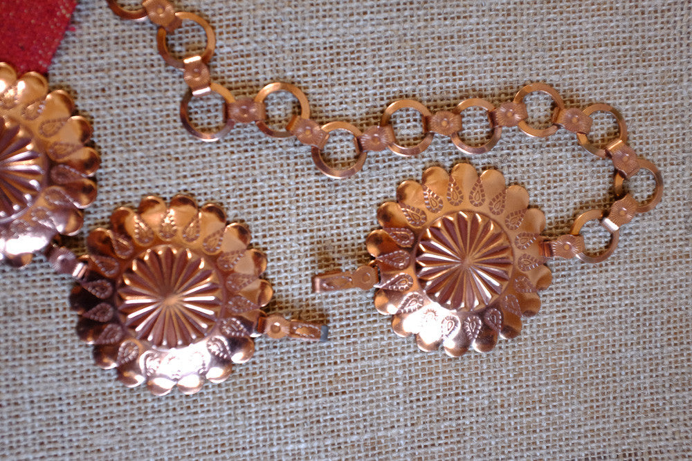 Copper Plated Concho Belt Detail