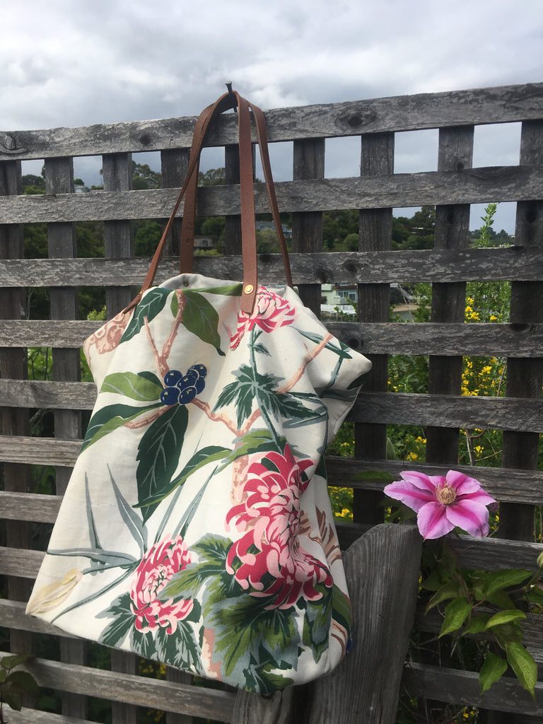 large floral tote bag
