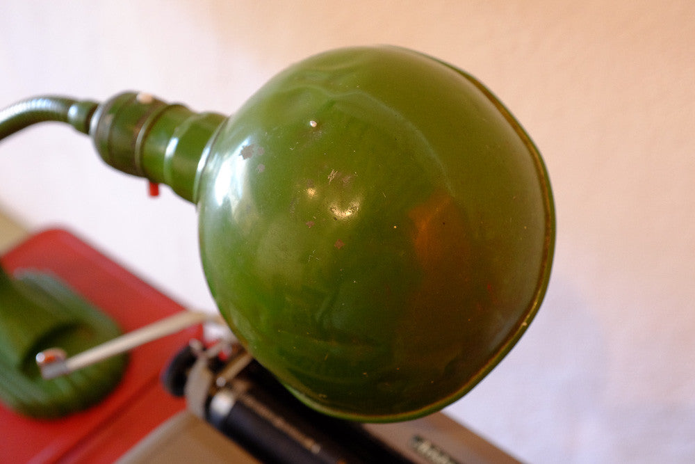 Hatcher's green desk lamp