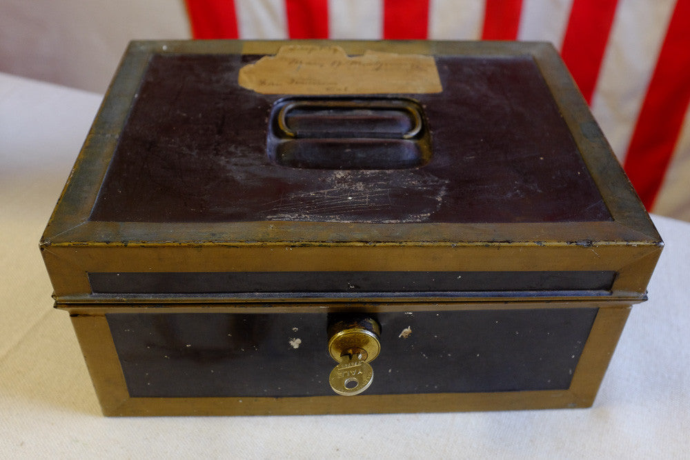 Victoria's black metal lock box w keys