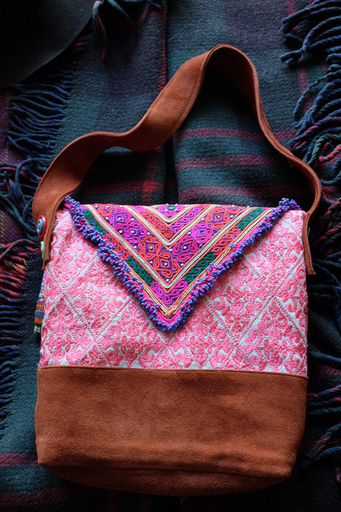 Mindy's Boho hot pink satchel