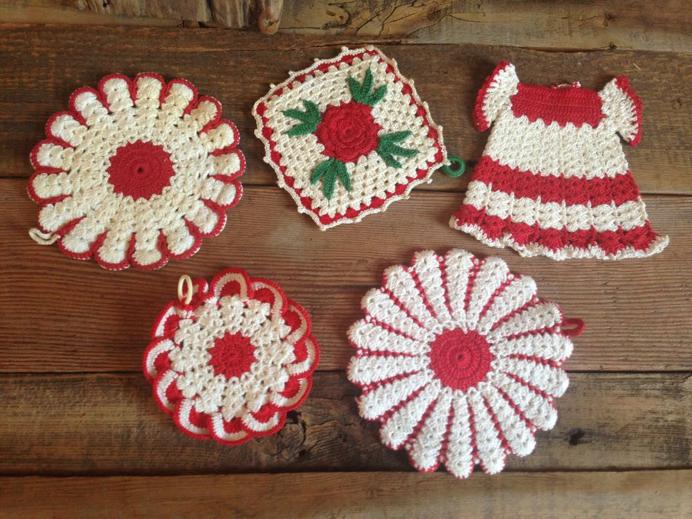 Martha's five red and white vintage hot pads