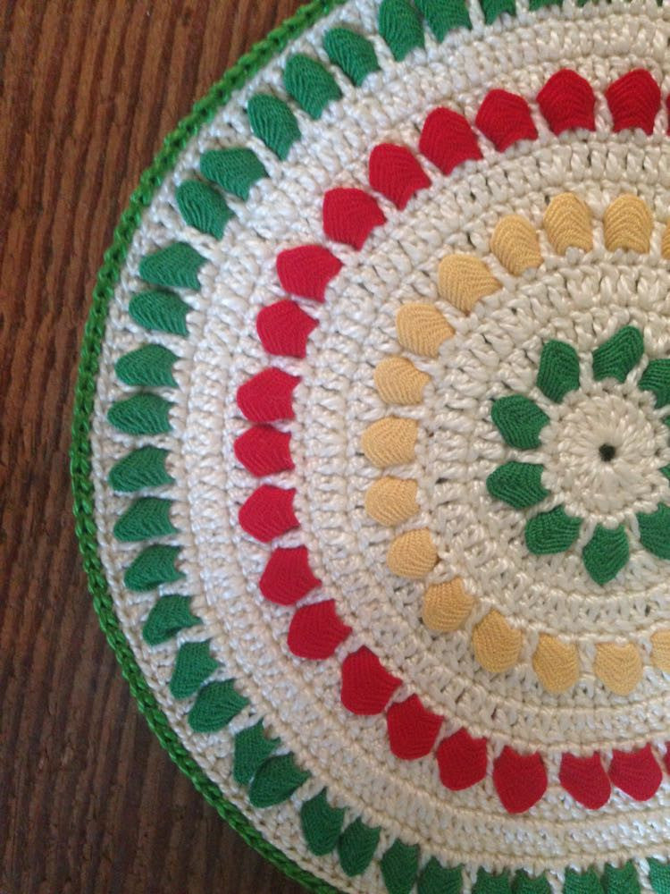 Green, White, Red, and Yellow Handmade Hotpad