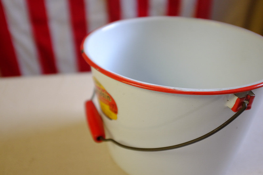 Richard's Red and White Enamel Pail
