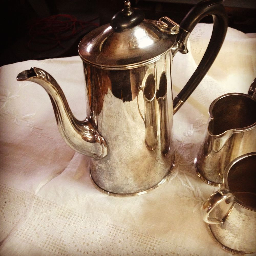 Silver Sheffield Coffee Set Detail