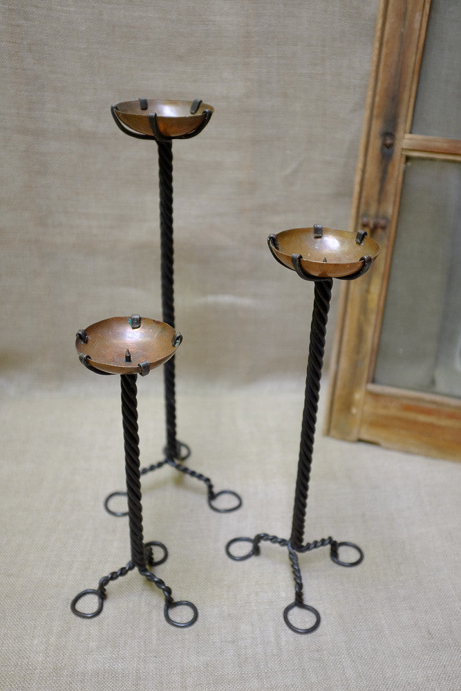 Iron Twisted Pillar Candle Holders with Copper Plates