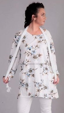 Floral Tunic & Scarf in White