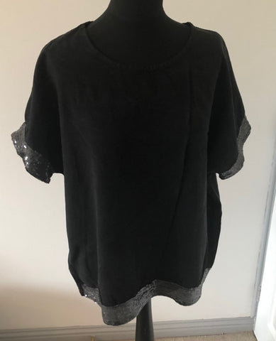 Black Sequin Hem Top