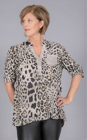 Animal Print Sequin Pocket Top