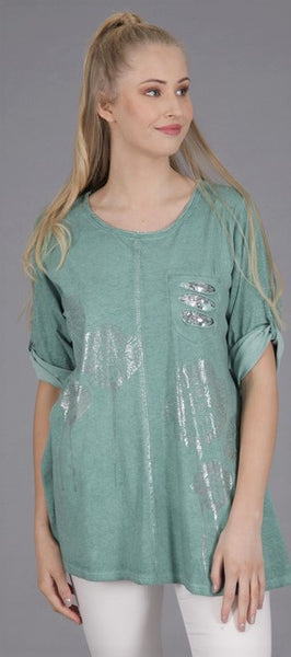 A NEW: Foil Flower Design Top in Teal