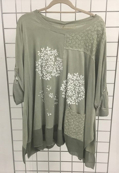 A NEW: Embroidered Foil Flower Top in Khaki