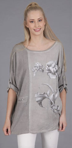 Grey Pearl Flower  Top