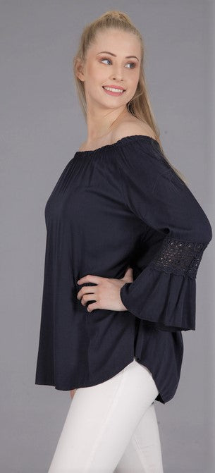 Embroidered Sleeve Top in Navy