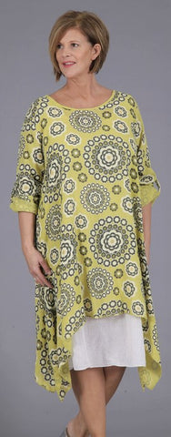 Two Piece Circle Flower Linen Dress in Lime