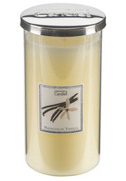Tall Madagascan Vanilla Glass Candle With Silver Lid