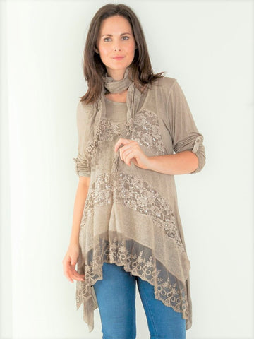 Three Piece Stunning Lace Layered Top in Mocha