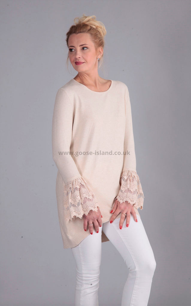 Beige Lace Sleeve tunic