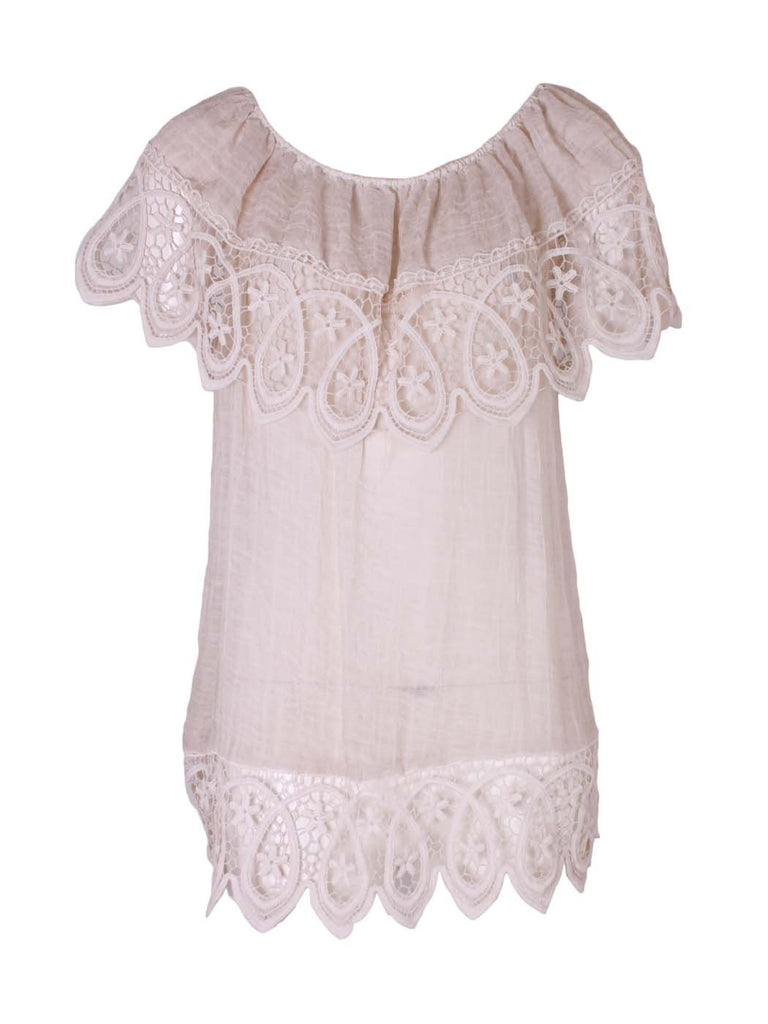 Gypsy Bardot Style Top in White
