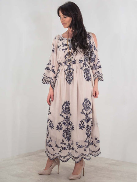 Dusky Pink Linen Maxi Dress