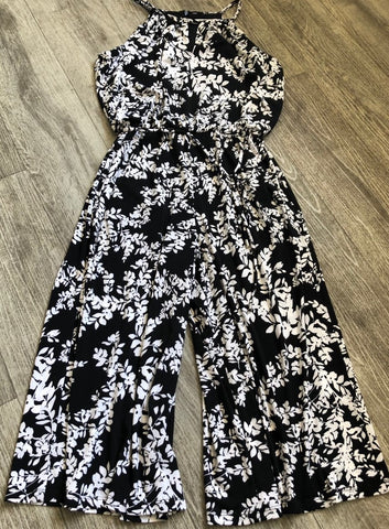 A NEW: Black & White Leaf Jumpsuit