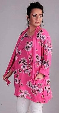 Fuschia Flower Pocket Tunic