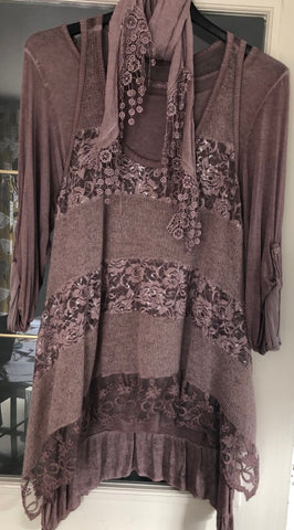 Lace Layered Three Piece Top Stunning in Dusty Pink