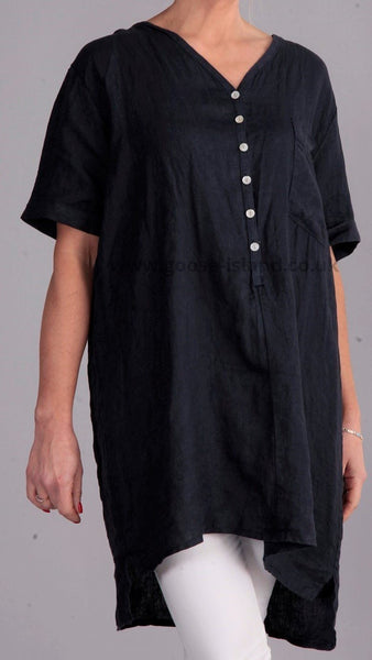Button Linen Shirt in Navy