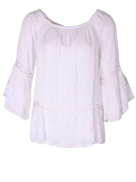 Lace Bell Sleeved Beige Gypsy Top