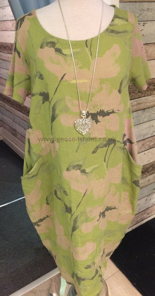Lime Green Linen Floral Dress