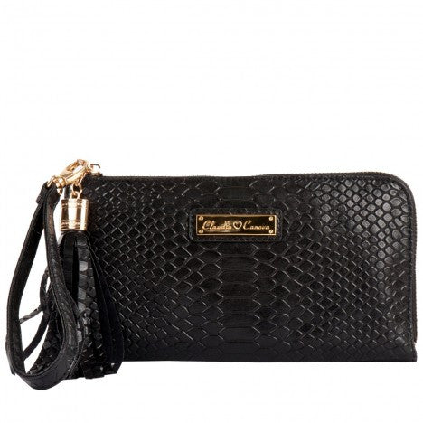 Small Snake Print Leather Clutch by Claudia Canova