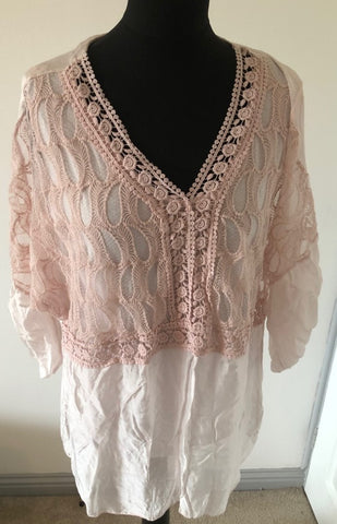 A NEW: Pastel Pink Crochet Top