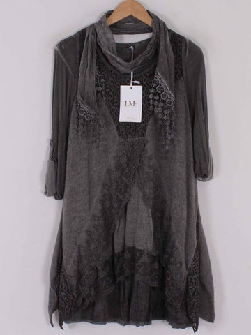 Lace Hem and Neckline Three Piece in Grey
