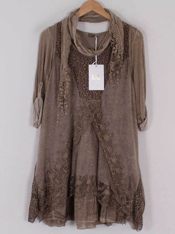 Layered Lace Design Three Piece in Mocha