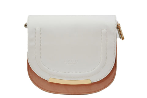 Saddle Bag in Coral & Cream by LYDC