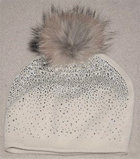 Pom Pom Hat in white Diamonte