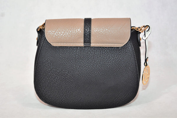 Black & Taupe Saddle Bag by LYDC